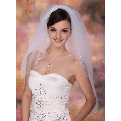 Two-tier Elbow Bridal Veils With Beaded Edge (006003756)