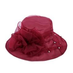 Dames Élégante Organza avec Fleur en soie Chapeau melon / Chapeau cloche/Chapeaux de plage / soleil