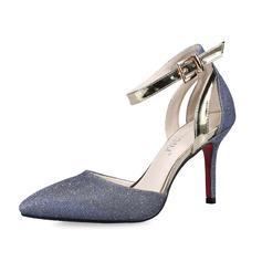Funkelnde Glitzer Stöckel Absatz Absatzschuhe Geschlossene Zehe mit Schnalle Schuhe (085062911)