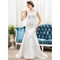 Trumpet/Mermaid V-neck Sweep Train Lace Wedding Dress With Ruffle Beading Appliques Lace Sequins