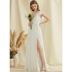 Corte A Decote V Longos Tecido de seda Vestido de noiva com Frente aberta Babados em cascata (002234884)