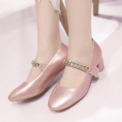 Naisten Keinonahasta Chunky heel Avokkaat Suljettu toe jossa Ketju kengät