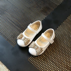 Girl's Leatherette Flat Heel Round Toe Flats With Bowknot Sequin Velcro