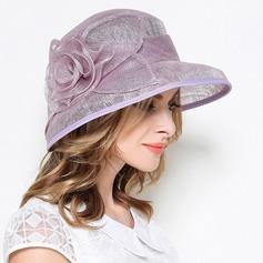 Dames Style Vintage Lin avec Fleur en soie Chapeau melon / Chapeau cloche