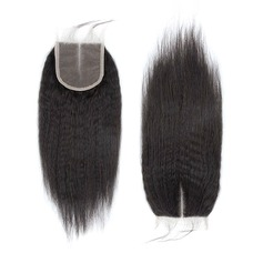 "4""*4"" 5A Kinky Straight Human Hair Closure (Sold in a single piece)"