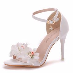 Dla kobiet Skóra ekologiczna Obcas Stiletto Otwarty Nosek Buta Sandały Z Klamra Satynowy Kwiat