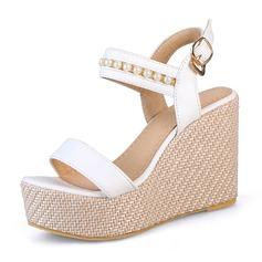 Donna Similpelle Zeppe Sandalo Zeppe con Perla imitazione scarpe