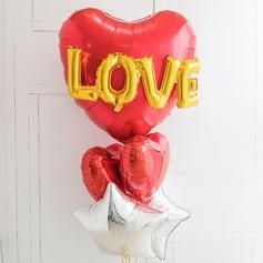 Coração deu forma Elegante Aluminium Foil Balão (conjunto de 6)