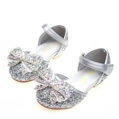 Girl's Round Toe Closed Toe Sparkling Glitter Flat Heel Flats Flower Girl Shoes With Bowknot Velcro Crystal