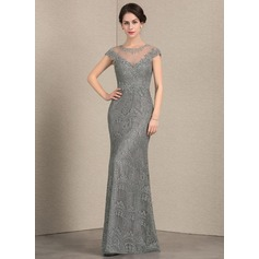 Sheath/Column Scoop Neck Floor-Length Lace Evening Dress With Beading Sequins (017164940)