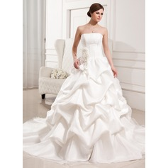 Ball-Gown Strapless Cathedral Train Satin Organza Wedding Dress With Ruffle Flower(s)