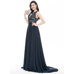 A-Line/Princess Scoop Neck Sweep Train Chiffon Evening Dress With Beading Sequins