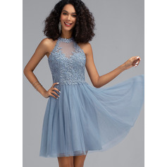 A-Line Scoop Neck Short/Mini Tulle Homecoming Dress With Sequins (022203160)