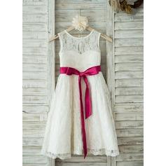 Corte A/Princesa Hasta la tibia Vestidos de Niña Florista - Encaje Sin mangas Escote redondo con Fajas (010093389)