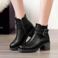 Women's PU Chunky Heel Pumps Boots Ankle Boots With Buckle Zipper shoes