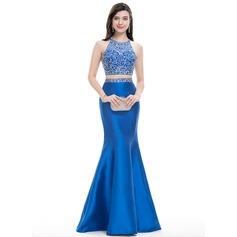 Trumpet/Mermaid Scoop Neck Floor-Length Satin Prom Dresses With Beading Sequins