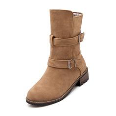 Femmes Suède Talon bottier Bottes Bottes mi-mollets avec Boucle chaussures
