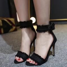 De mujer Lona Tacón stilettos Sandalias Encaje con Hebilla zapatos