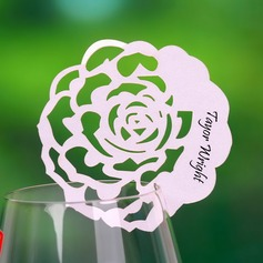 Rose Design Pearl Paper Place Cards (set of 12)