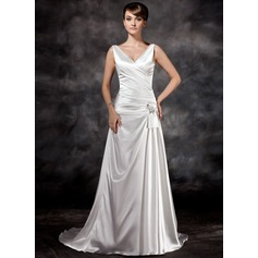 A-Line/Princess V-neck Court Train Charmeuse Wedding Dress With Ruffle Beading Sequins