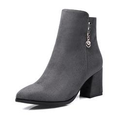 Frauen Kunstleder Stämmiger Absatz Stiefel Stiefelette mit Schnalle Schuhe