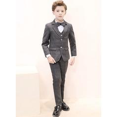 Boys 5 Pieces Plaid Ring Bearer Suits /Page Boy Suits With Jacket Shirt Vest Pants Bow Tie