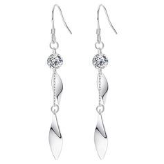 Dames élégant Argent 925 avec Diamant Zircon cubique Boucles d'oreilles Amis/Demoiselle d'honneur