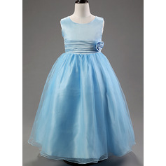 Ball Gown Ankle-length Flower Girl Dress - Cotton Blends Sleeveless Scoop Neck With Flower(s) (010087786)