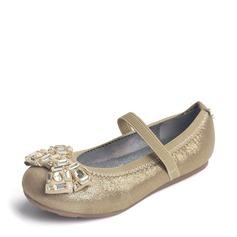 Girl's Leatherette Flat Heel Round Toe Flats With Bowknot Rhinestone