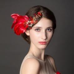 Glamour Strass/Alliage/Feather Des peignes et barrettes/Fleurs et plumes