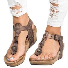 Donna Similpelle Zeppe Sandalo Stiletto Zeppe Punta aperta Con cinturino con Rivet Fibbia scarpe