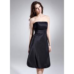 Çan/Prenses Askısız Diz Hizası Taffeta Mezunlar Gecesi Elbisesi Ile Büzgü