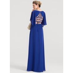 A-Line/Princess V-neck Floor-Length Chiffon Evening Dress With Split Front