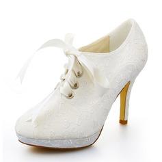 Женщины Атлас Высокий тонкий каблук Ботинки Закрытый мыс На каблуках с Лента