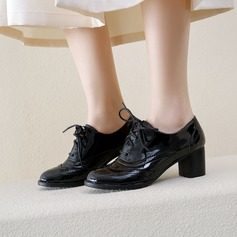 Donna Pelle verniciata Tacco spesso Stiletto أحذية