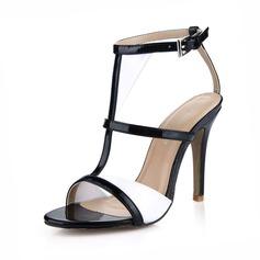 кожа Высокий тонкий каблук Сандалии Открытый мыс с пряжка обувь