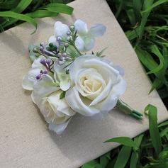 Forma livre Cetim Conjuntos de flores - Buquê de pulso/Alfinete de lapela