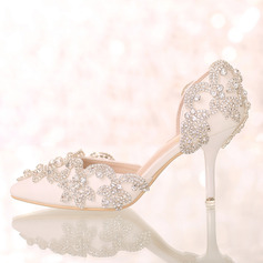 Vrouwen Kunstleer Stiletto Heel Closed Toe Pumps Sandalen met Strass (047095878)