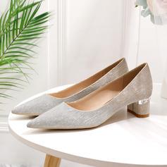 Women's Sparkling Glitter Low Heel Closed Toe