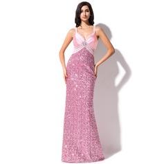 Платье-чехол В виде сердца Sweep/Щетка поезд С блестками Платье Для Выпускного Вечера с Бисер
