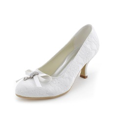 Vrouwen Kant Spool Hak Closed Toe Pumps met strik Kristal