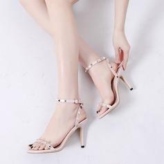 Donna Similpelle Tacco a spillo Sandalo Stiletto con Rivet Fibbia scarpe (087105621)