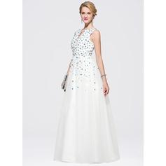 Vestidos princesa/ Formato A Decote V Longos Cetim Tule Vestido de baile com Bordado lantejoulas