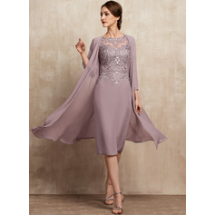 Sheath/Column Scoop Neck Knee-Length Chiffon Lace Mother of the Bride Dress With Beading Sequins (008225546)