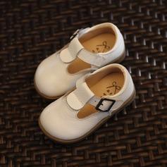 A menina de imitação de couro Heel plana Toe rodada Sem salto com Velcro