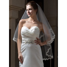 Two-tier Fingertip Bridal Veils With Lace Applique Edge (006034111)