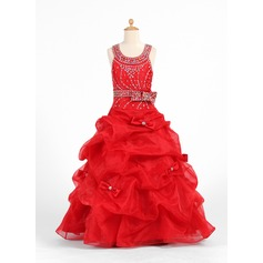 Ball Gown Floor-length Flower Girl Dress - Organza/Charmeuse Sleeveless Scoop Neck With Bow(s)/Rhinestone/Pick Up Skirt