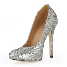 Women's Sparkling Glitter Stiletto Heel Closed Toe Pumps With Sequin
