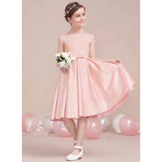 A-Line Square Neckline Knee-Length Satin Junior Bridesmaid Dress With Bow(s)