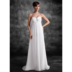 Empire Sweetheart Sweep Train Chiffon Chiffon Maternity Bridesmaid Dress With Ruffle Lace Beading Sequins (045022472)